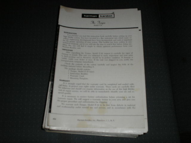 F-10 Tuner Service Manual  Harman Kardon