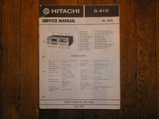 D-410 Stereo Cassette Tape Deck Service Manual
