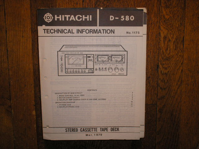 D-580 Stereo Cassette Tape Deck Service Manual