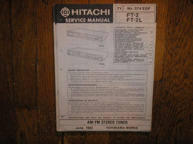 FT-2 FT-2L Tuner Service Manual  Hitachi