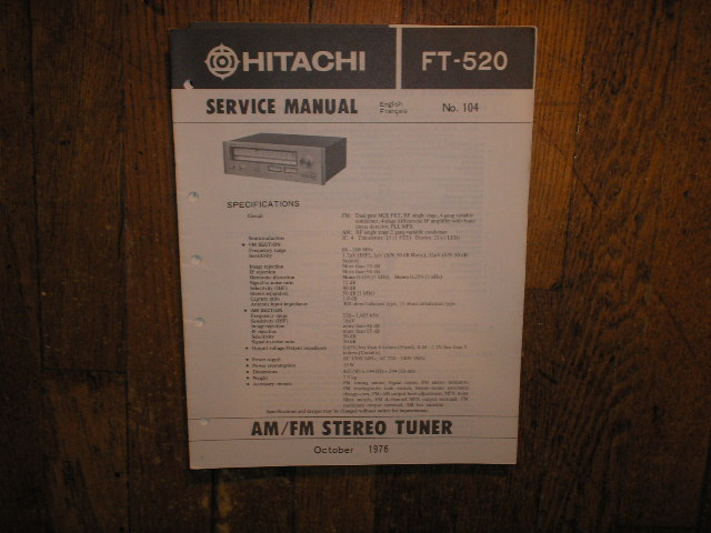 FT-520 AM FM Tuner Service Manual
