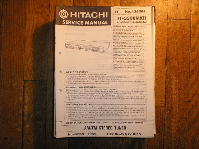 FT-5500 MK II MK 2 Tuner Service Manual  Hitachi
