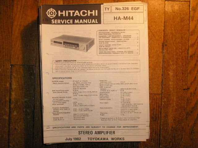 HA-M44 Stereo Amplifier Service Manual