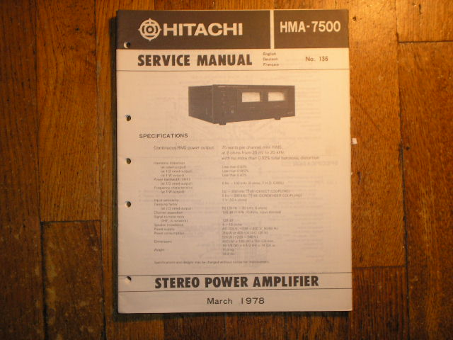 HMA-7500 Stereo Power Amplifier Service Manual