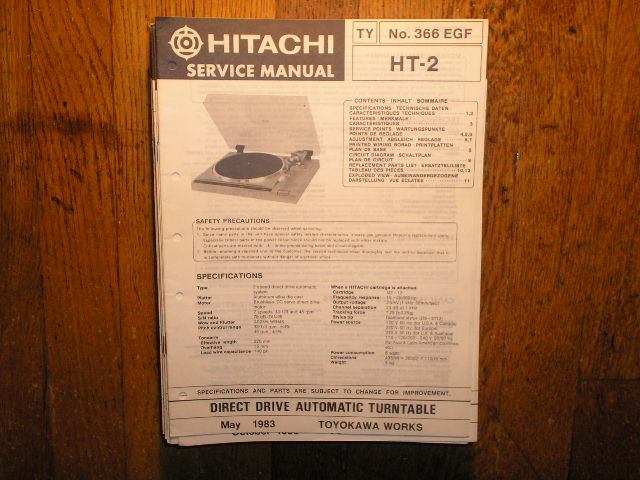 HT-2 Direct Drive Turntable Service Manual