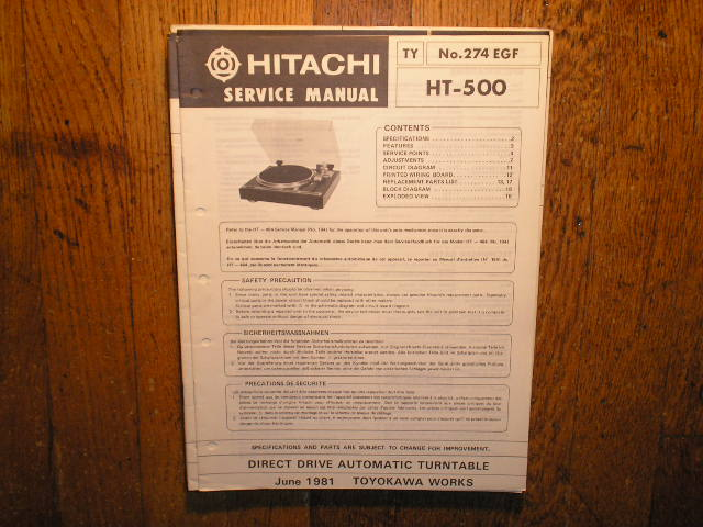 HT-500 Direct Drive Turntable Service Manual....