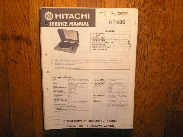 HT-60S Direct Drive Turntable Service Manual....Also need HT-464 Manual for the Auto Mechanism