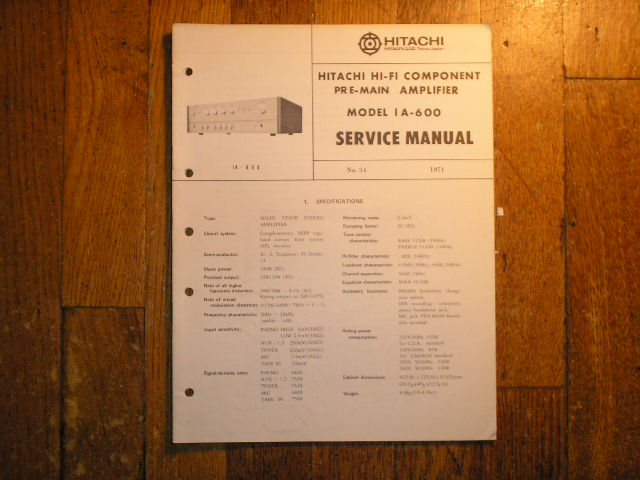 IA-600 PRE-AMPLIFIER  Service Manual  HITACHI ORIGINALS