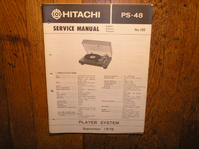 PS-38 Belt Drive Turntable Service Manual