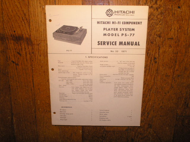 PS-77 Belt Drive Turntable Service Manual