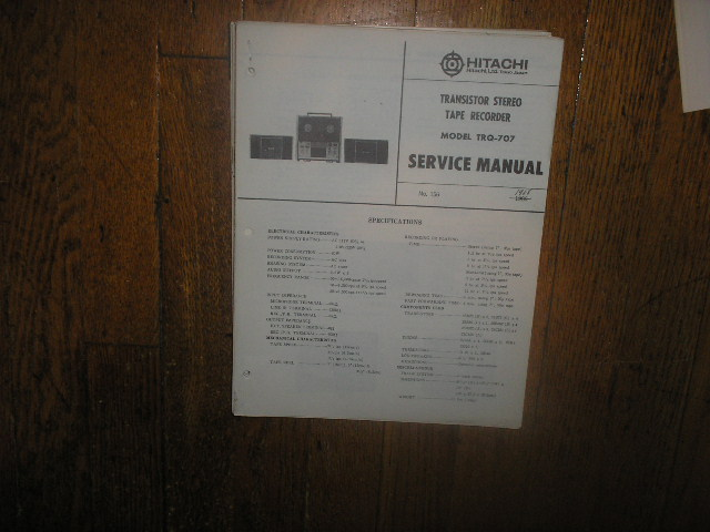 TRQ-707 Reel to Reel Tape Recorder Service Manual