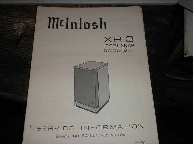 XR3 Loudspeaker Service Manual for Serial Number CA1001 and above..