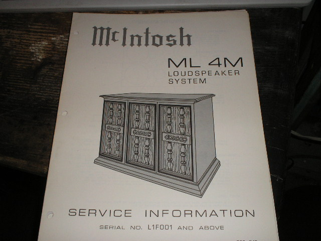 ML4M Loudspeaker Service Manual for Serial Number L1F001 and above..