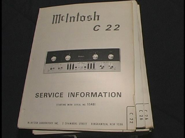C 22 Pre-Amplifier Service Manual Starting with Serial No 10A01  McIntosh