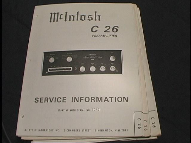 C 26 Pre-Amplifier Service Manual Starting with Serial No 10P01  McIntosh
