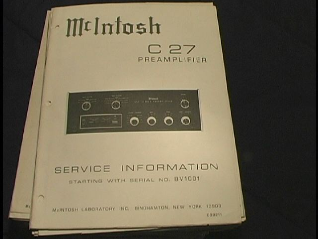 C 27 Pre-Amplifier Service Manual Starting with Serial No BV1001  McIntosh