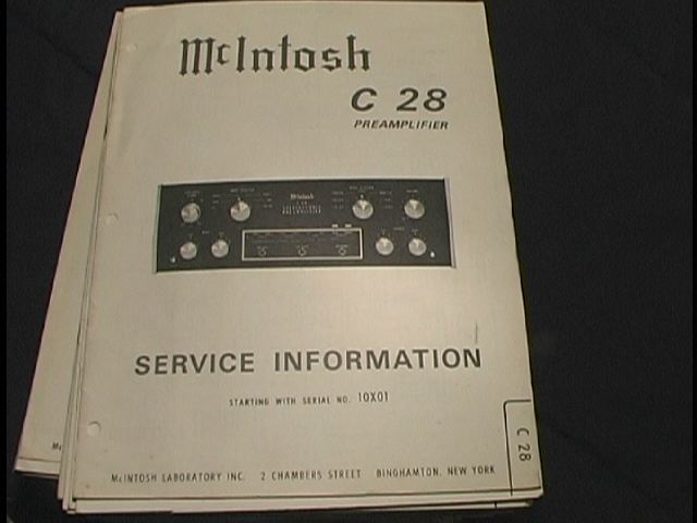 C 28 Pre-Amplifier Service Manual Starting with Serial No 10X01  McIntosh