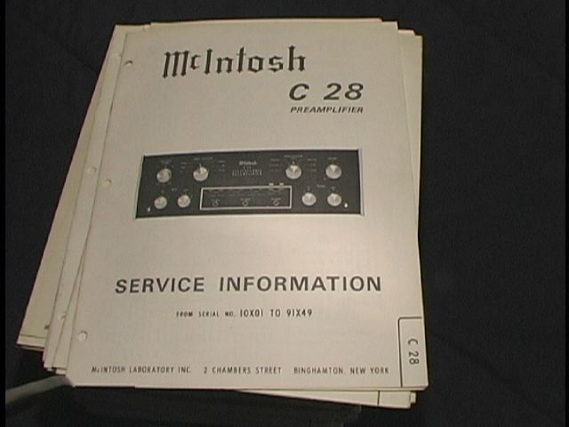 C 28 Pre-Amplifier Service Manual Starting with Serial No 10X01 to 91X49  McIntosh