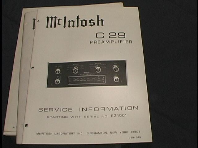 C 29 Pre-Amplifier Service Manual Starting with Serial No BZ1001  McIntosh