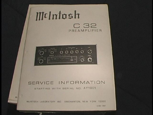 C 32 Pre-Amplifier Service Manual Starting with Serial No AY1001  McIntosh
