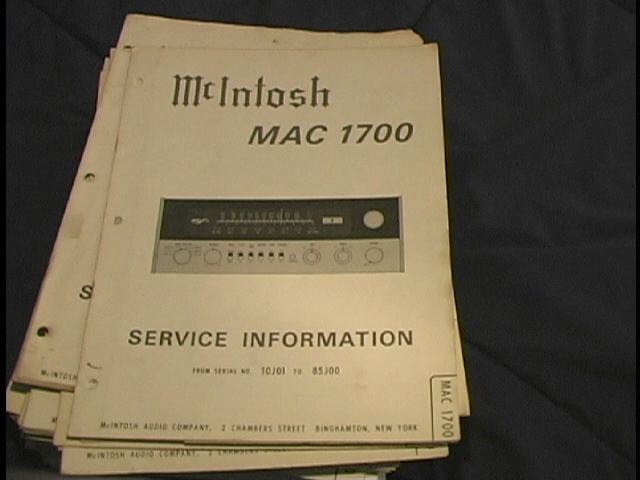MAC 1700 Receiver Service Manual Starting with Serial No 10J01 to 85J00