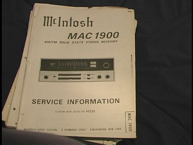 MAC 1900 Receiver Service Manual Starting with Serial No 1X001