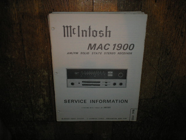 MAC 1900 Receiver Service Manual Starting with Serial No AN1001
