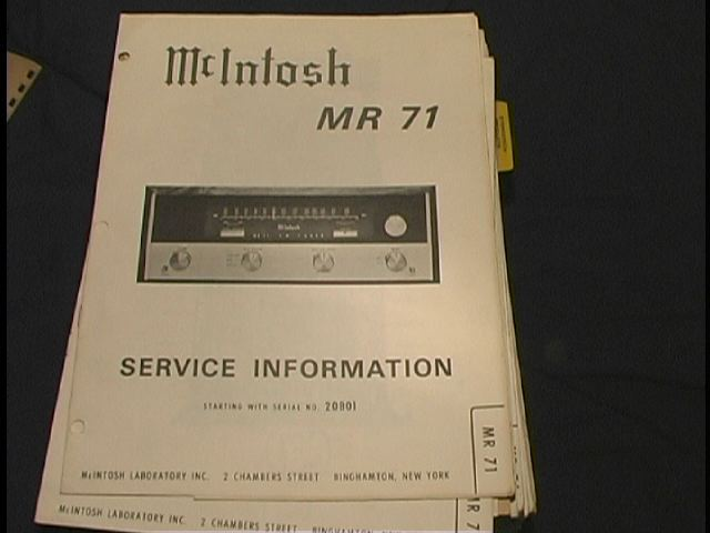 MR-71 Tuner Service Manual Serial No. 20B01 and Up.  McIntosh