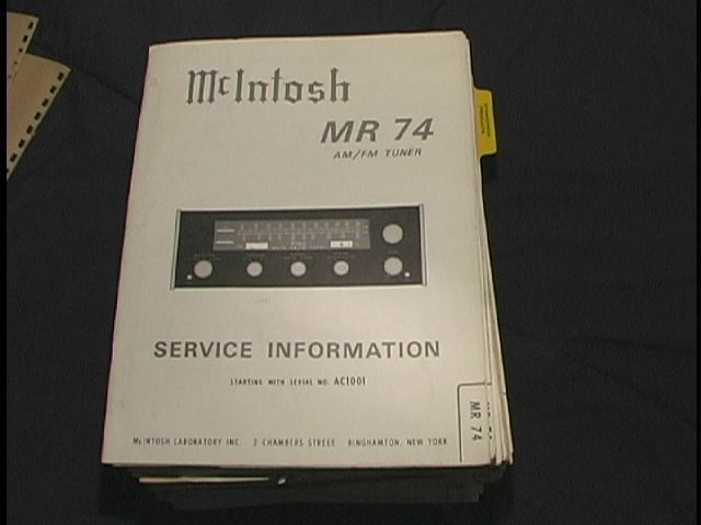 MR-74 Tuner Service Manual Serial No. AC1001 and Up  McIntosh