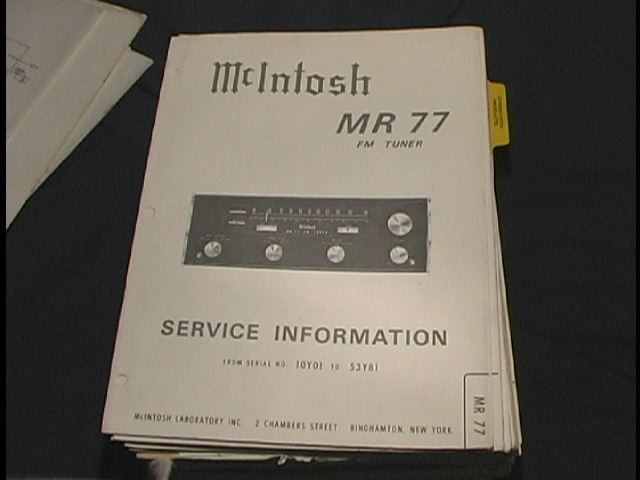 MR-77 FM Tuner Service Manual Serial No. 10Y01 and Up  McIntosh