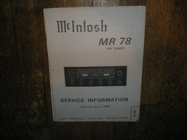 MR-78 FM Tuner Service Manual Starting with Serial No AD1001  McIntosh