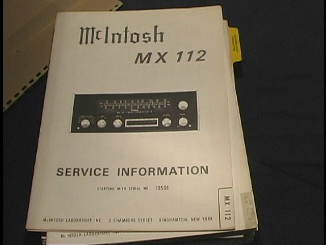 MX-112 Tuner Pre-Amplifier Service Manual Serial No.10S01  McIntosh