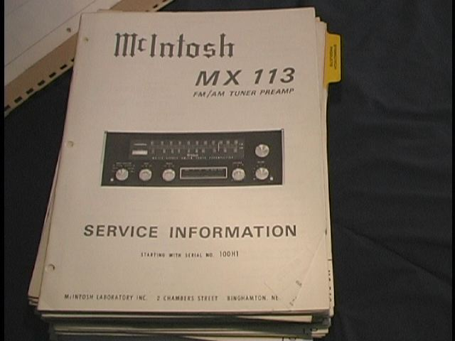MX-113 Tuner Pre-Amplifier Service Manual Serial No.100H1  McIntosh