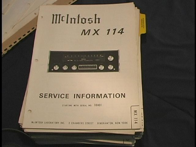 MX-114 Tuner Pre-Amplifier Service Manual Serial No.10V01  McIntosh