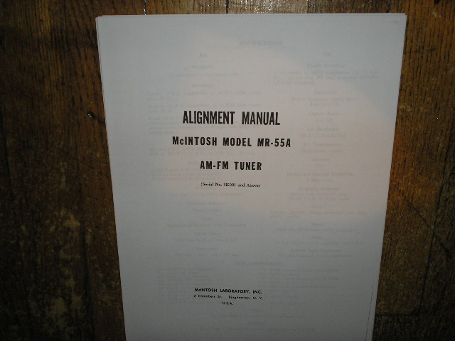 MR 55A AM FM Tuner Alignment Service Manual Starting with Serial No 3K001 and Up  McIntosh