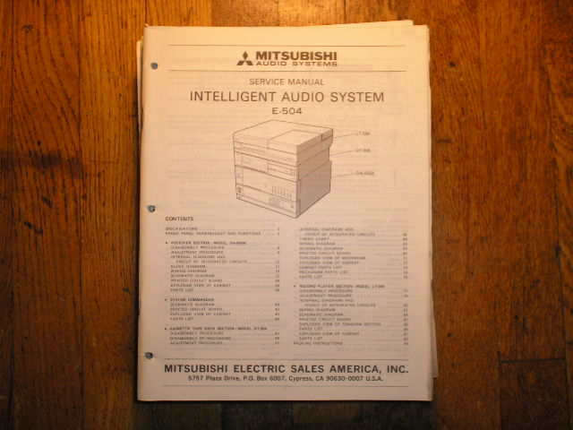 E-504 INTELLIGENT AUDIO COMPONENT SYSTEM Service Manual