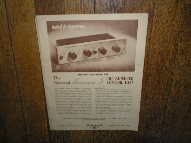 Horizon 5 Pre-Amplifier Control Unit Service Manual  NATIONAL
