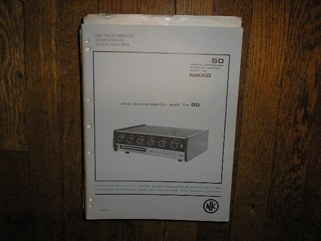 TRM-50 Amplifier Service Manual  Nikko