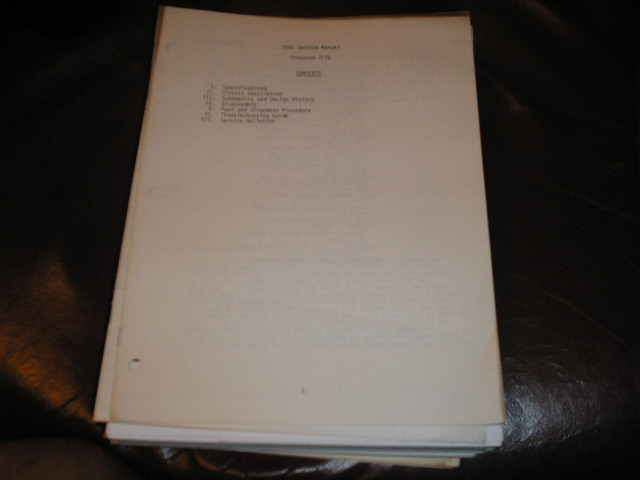 2000 Pre-Amplifier Service Manual  Early Production  Phase Linear