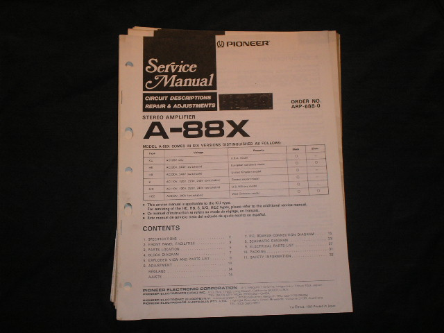 A-88X Amplifier Service Manual