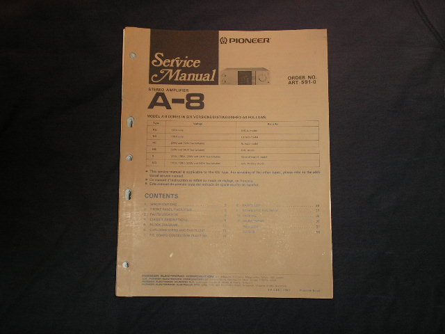 A-8 Amplifier Service Manual