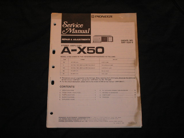 A-X50 Amplifier Service Manual