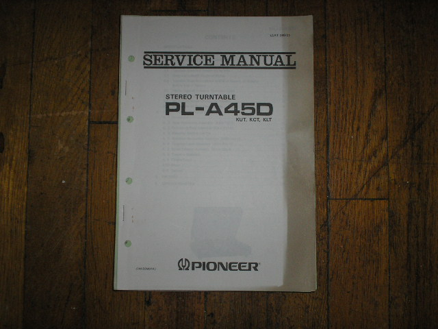 PL-A45D KUT KCT KLT Turntable Service Manual  ART-099-0