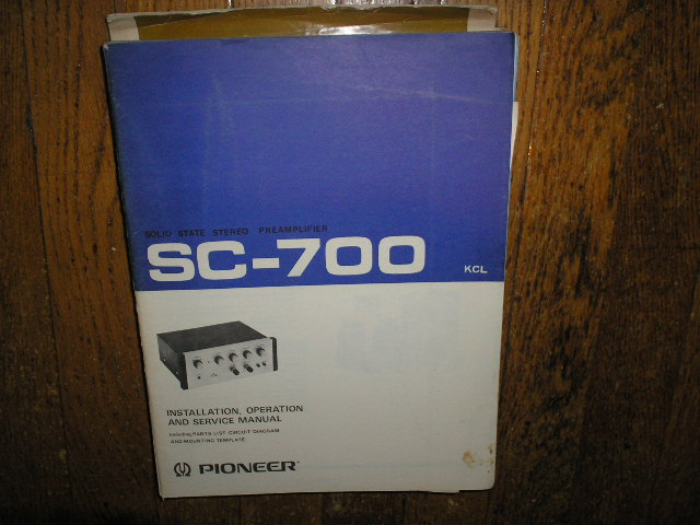 SC-700 KCL Stereo Pre-Amplifier Service Manual  Pioneer