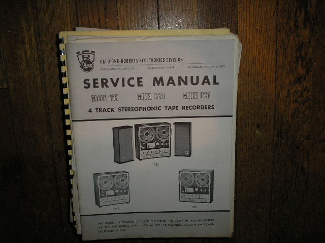 1719 1720 1721 4-Track Stereo Reel to Reel Tape Deck Service Manual  ROBERTS