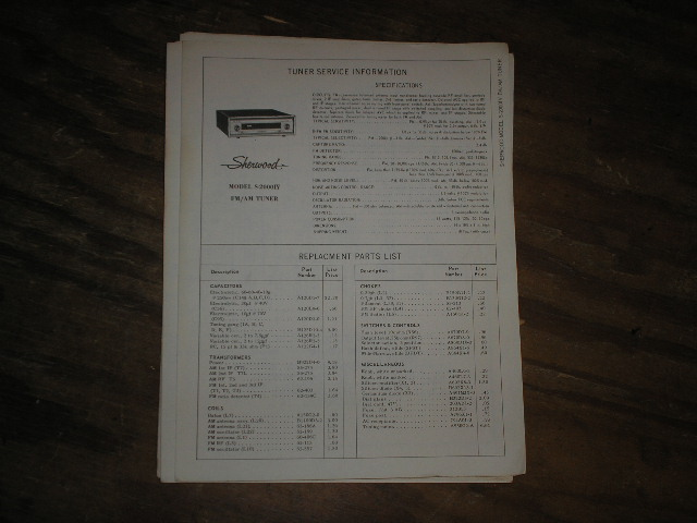 S-2000 IV Tuner Service Manual Serial no 248701-249700  Sherwood