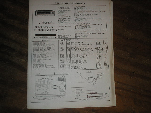 S-2300 Tuner Service Manual Serial no. 295001 and up.  Sherwood