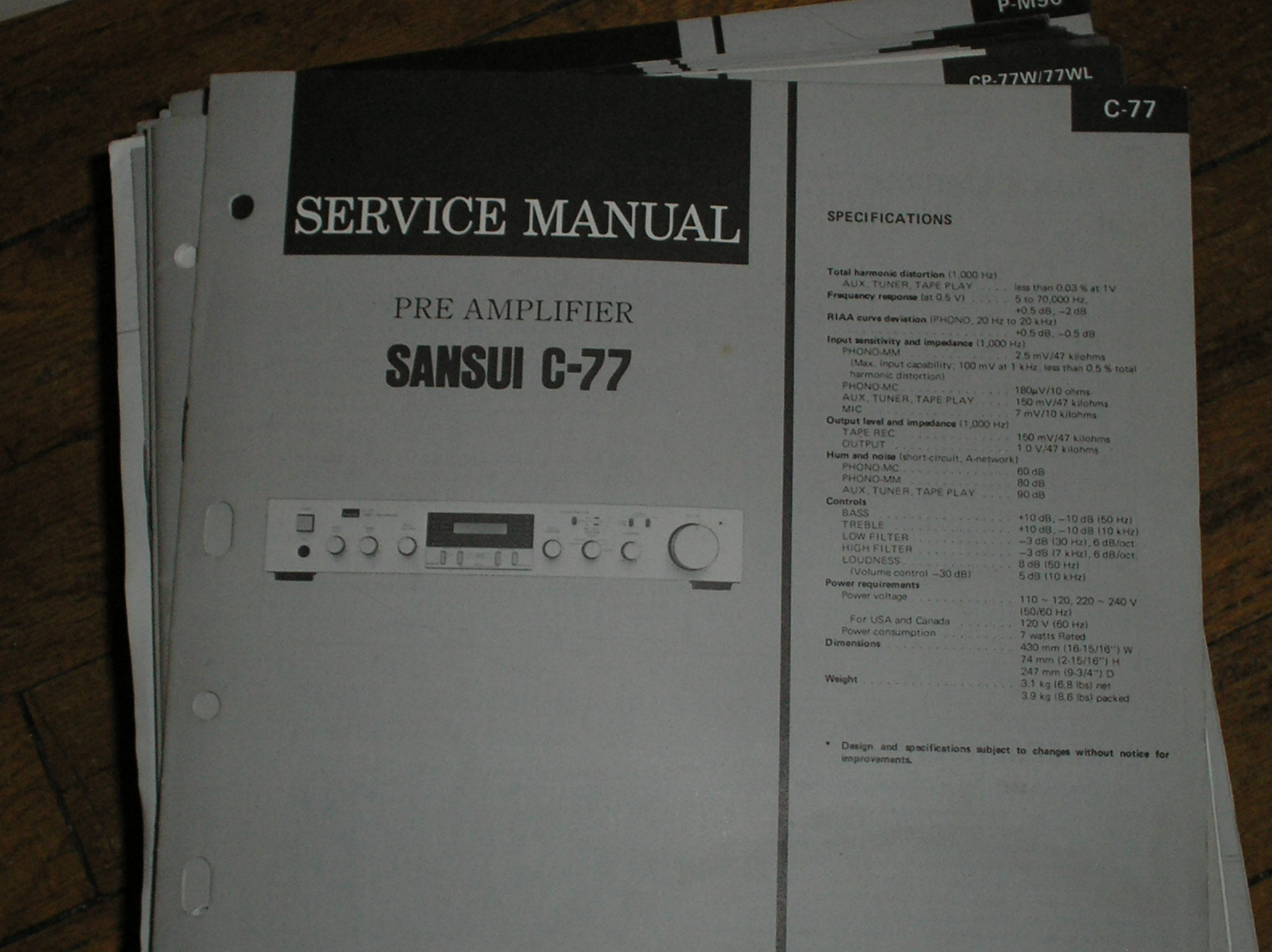 C-77 Pre-Amplifier Service Manual  Sansui