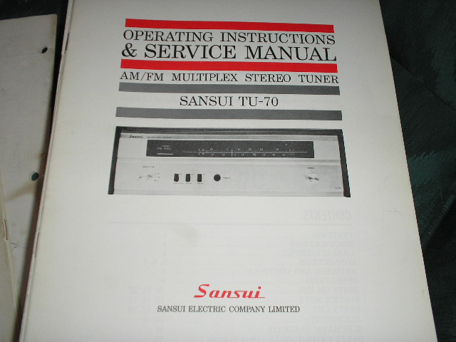TU-70 Tuner Operating Instruction Manual  Sansui