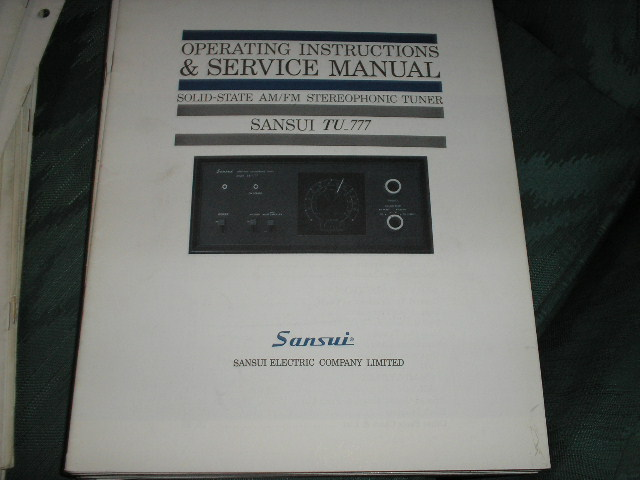 TU-777 Tuner Operating Service Instruction Manual  Sansui